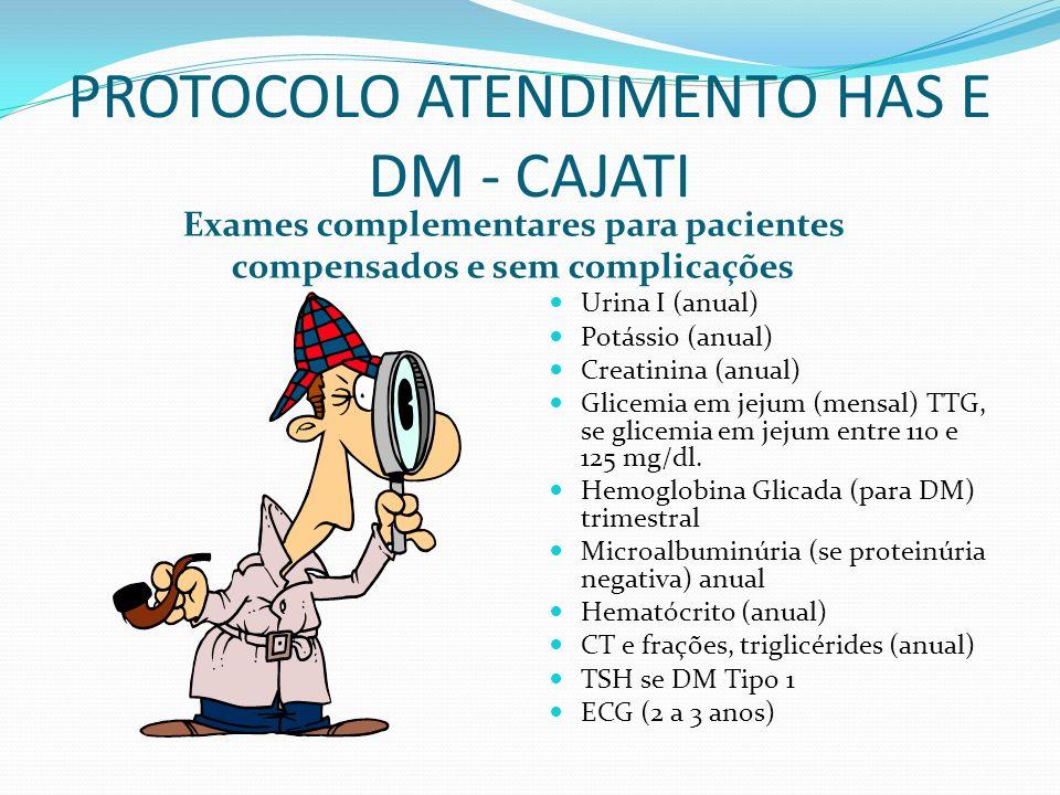 PROTOCOLO ATENDIMENTO HAS E DM - CAJATI Exames complementares para pacientes compensados e sem complicações Urina I (anual) Potássio (anual) Creatinin