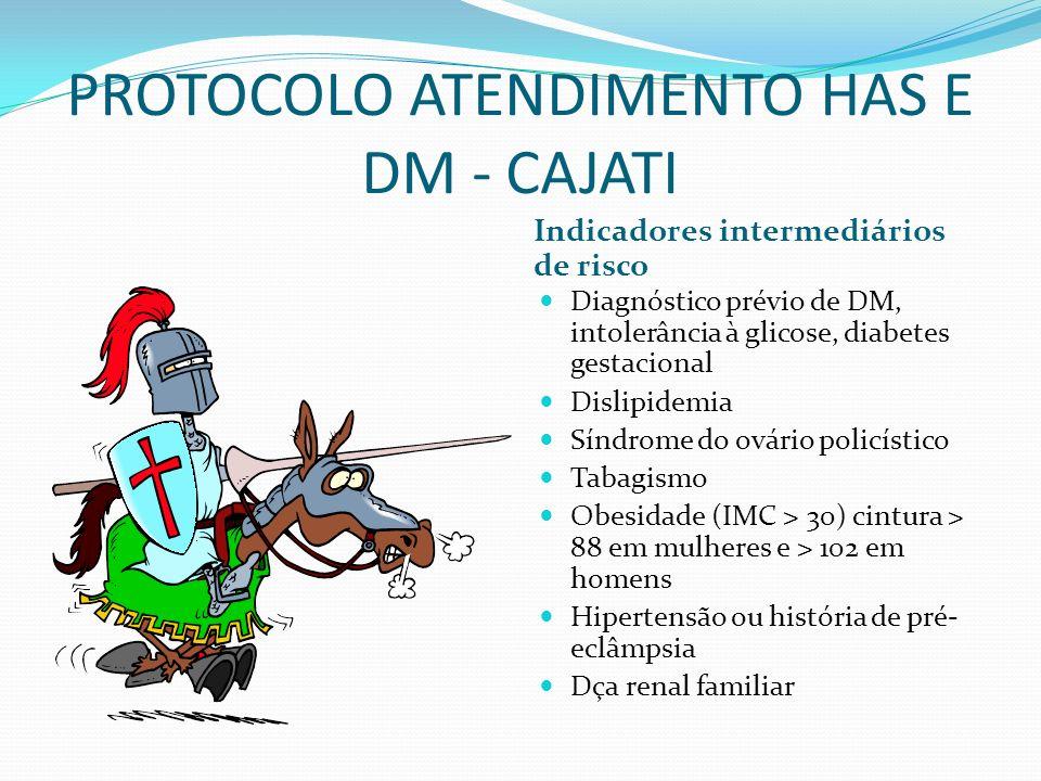 PROTOCOLO ATENDIMENTO HAS E DM - CAJATI Indicadores intermediários de risco Diagnóstico prévio de DM, intolerância à glicose, diabetes gestacional Dis