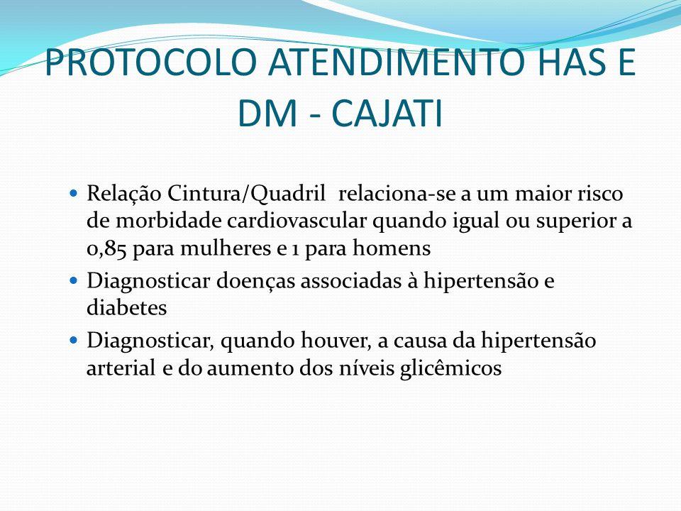 PROTOCOLO ATENDIMENTO HAS E DM - CAJATI Relação Cintura/Quadril relaciona-se a um maior risco de morbidade cardiovascular quando igual ou superior a 0