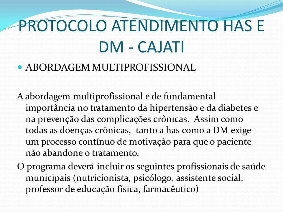 PROTOCOLO ATENDIMENTO HAS E DM - CAJATI ABORDAGEM MULTIPROFISSIONAL A abordagem multiprofissional é de fundamental importância no tratamento da hipert