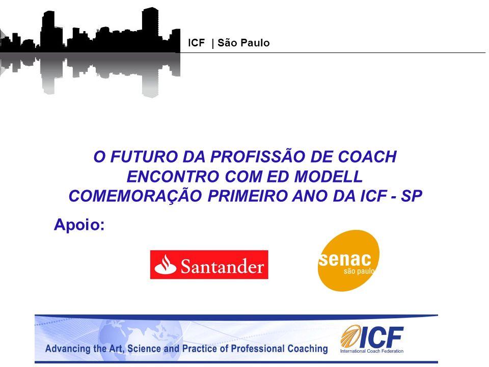 Agenda Abertura e Boas Vindas Linha do tempo ICF –SP Palavra Presidente ICF –Brasil Apresentação pessoal Ed Modell Levantamento de Expectativas para a palestra Palestra Ed Modell Homenagem aos 87 fundadores da ICF – SP Festa