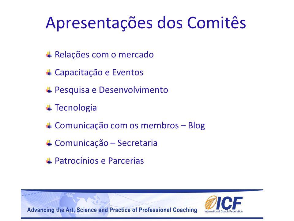 Apresentações dos Comitês Relações com o mercado Capacitação e Eventos Pesquisa e Desenvolvimento Tecnologia Comunicação com os membros – Blog Comunic