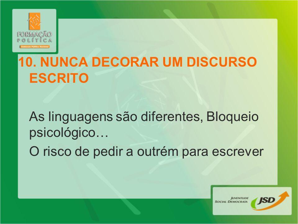 10. NUNCA DECORAR UM DISCURSO ESCRITO As linguagens são diferentes, Bloqueio psicológico… O risco de pedir a outrém para escrever