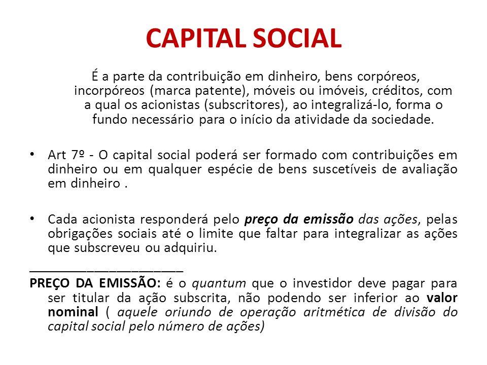 CAPITAL SOCIAL É a parte da contribuição em dinheiro, bens corpóreos, incorpóreos (marca patente), móveis ou imóveis, créditos, com a qual os acionist