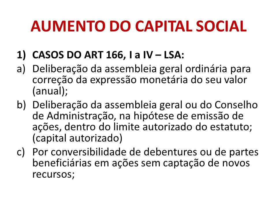 AUMENTO DO CAPITAL SOCIAL 1)CASOS DO ART 166, I a IV – LSA: a)Deliberação da assembleia geral ordinária para correção da expressão monetária do seu va