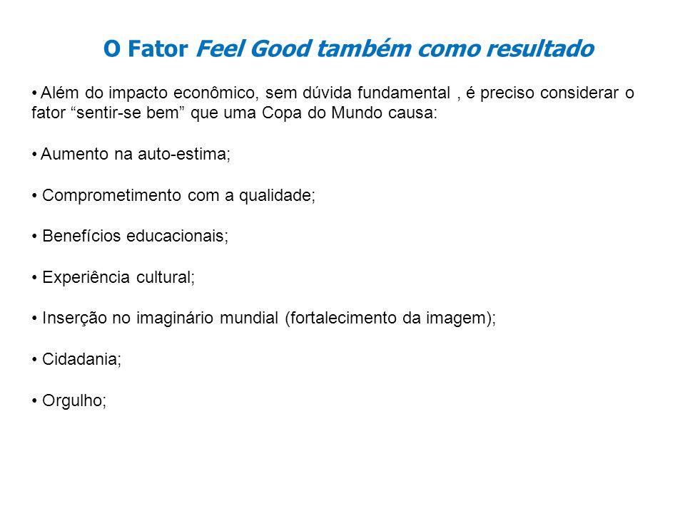 O Fator Feel Good também como resultado Além do impacto econômico, sem dúvida fundamental, é preciso considerar o fator sentir-se bem que uma Copa do