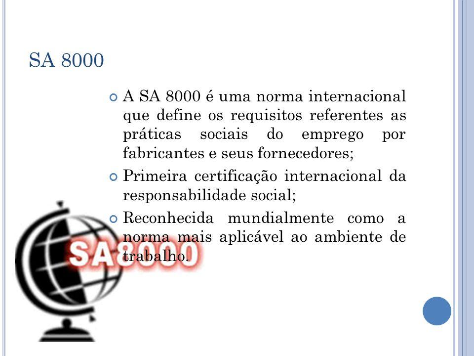 SA 8000 A SA 8000 é uma norma internacional que define os requisitos referentes as práticas sociais do emprego por fabricantes e seus fornecedores; Pr