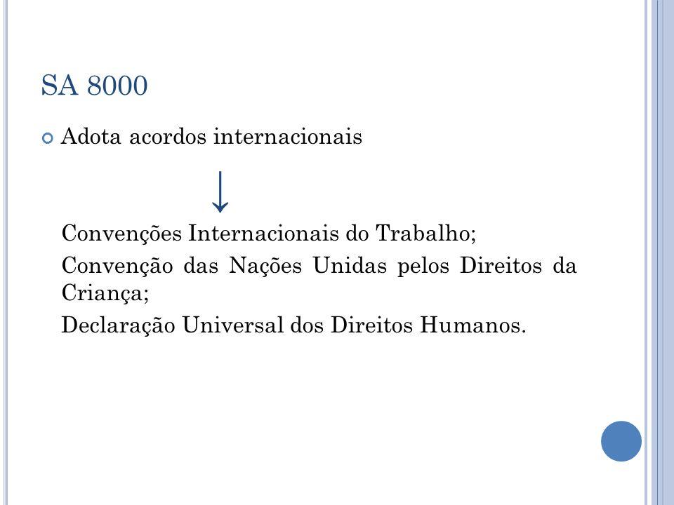 SA 8000 Adota acordos internacionais Convenções Internacionais do Trabalho; Convenção das Nações Unidas pelos Direitos da Criança; Declaração Universa
