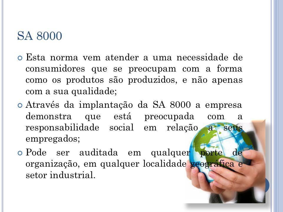 SA 8000 Algumas Empresas brasileiras: DE NADAI (empresa de alimentação industrial); CESG (empresa de consultoria); ALCOA/AFL (fornecedora da indústria automobilística); COSMOTEC (fornecedora de produtos para a indústria de cosméticos); SANTA ELISA (beneficiamento de cana- de-açúcar); AVON (cosméticos); WECKERLE (cosméticos); OXITENO (petroquímica) – quatro unidades certificadas; KANNENBERG (tabaco); KBH&C (tabaco); ALBRAS (alumínio); COMPANHIA NIQUEL TOCANTINS (níquel); MAXXI QUIMICA (fornecedora de produtos para a indústria de cosméticos).