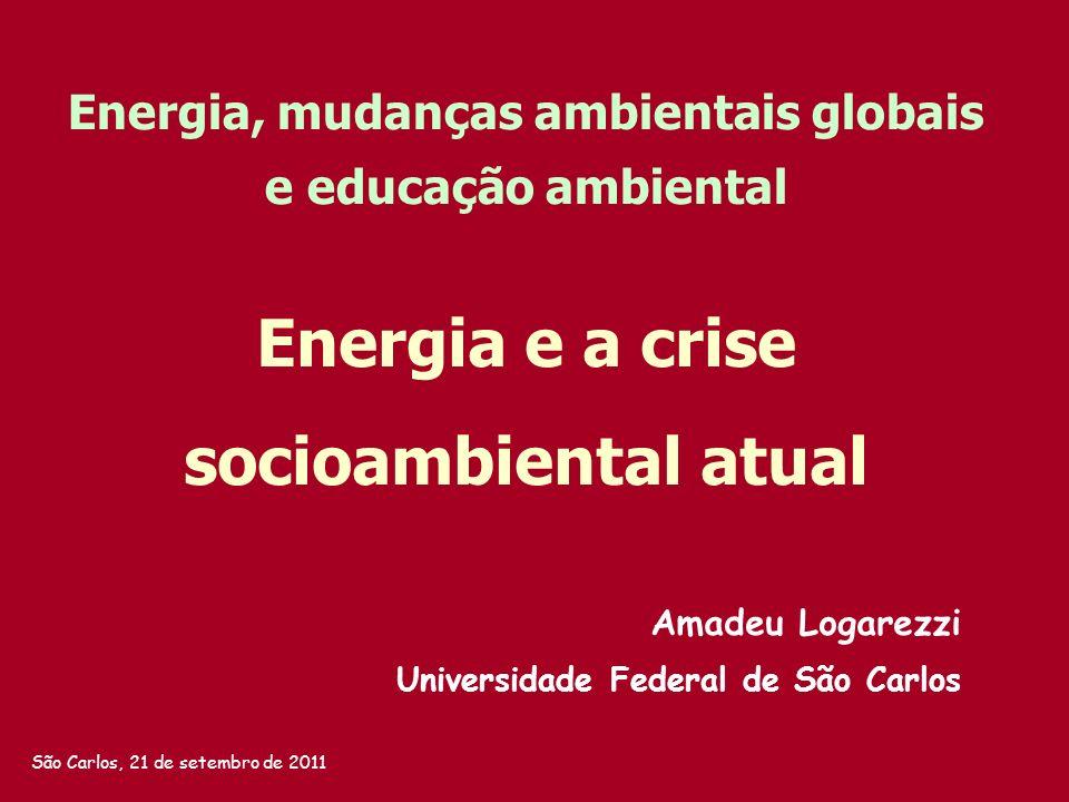 Universidade Federal de São Carlos Amadeu Logarezzi Energia, mudanças ambientais globais e educação ambiental São Carlos, 21 de setembro de 2011 Energ