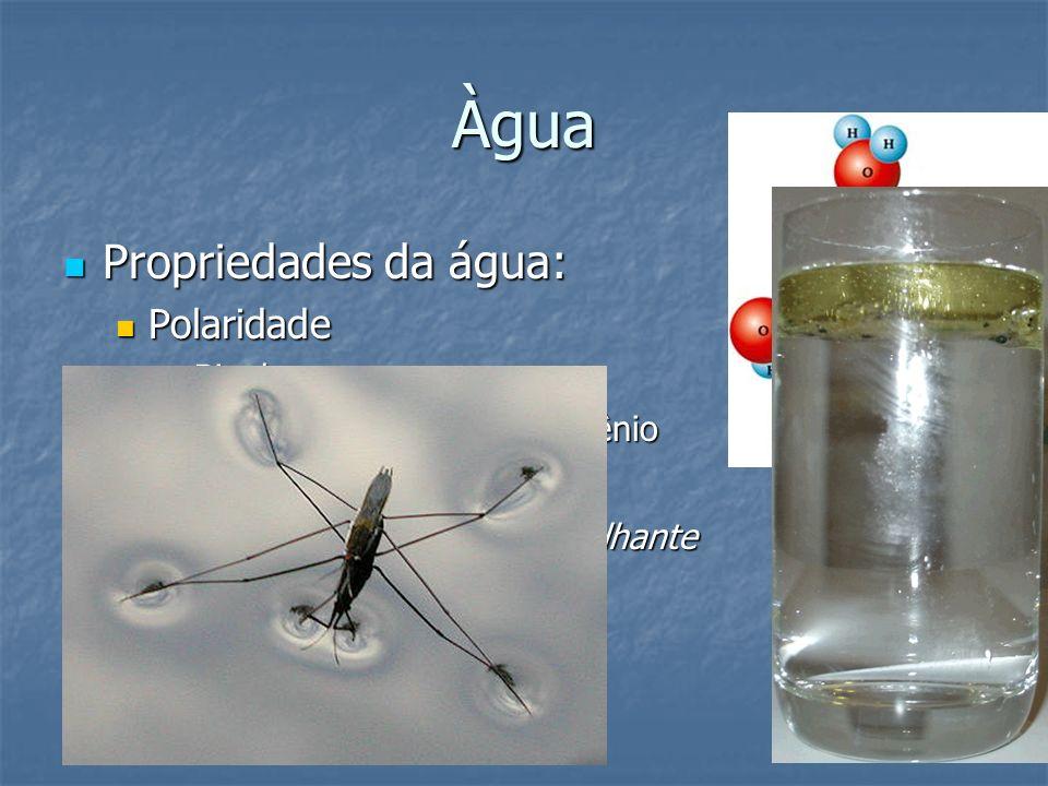 Àgua Propriedades da água: Propriedades da água: Polaridade Polaridade Bipolar Bipolar Forma ligações de hidrogênio Forma ligações de hidrogênio Obser