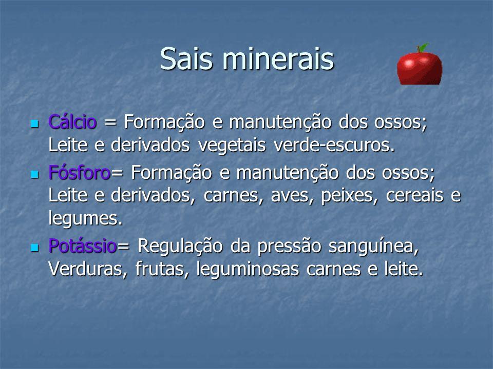 Sais minerais Cálcio = Formação e manutenção dos ossos; Leite e derivados vegetais verde-escuros. Cálcio = Formação e manutenção dos ossos; Leite e de