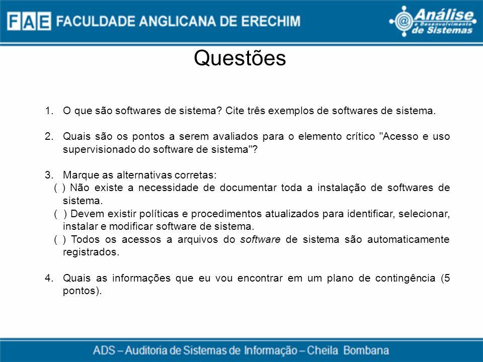 Questões 1.O que são softwares de sistema? Cite três exemplos de softwares de sistema. 2.Quais são os pontos a serem avaliados para o elemento crítico