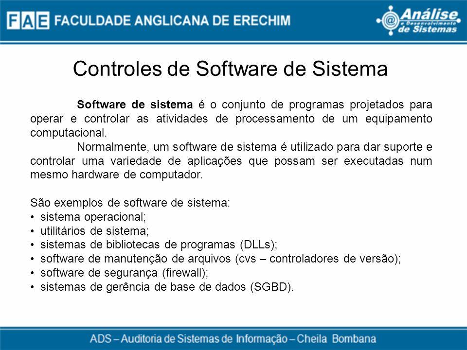 Controles de Software de Sistema Software de sistema é o conjunto de programas projetados para operar e controlar as atividades de processamento de um