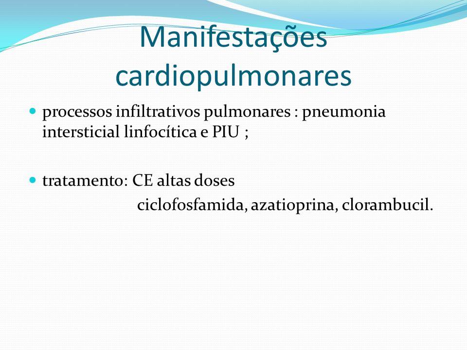 processos infiltrativos pulmonares : pneumonia intersticial linfocítica e PIU ; tratamento: CE altas doses ciclofosfamida, azatioprina, clorambucil. M
