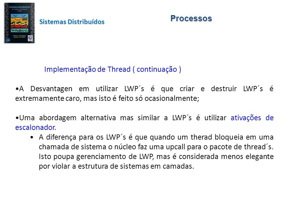 Processos Sistemas Distribuídos Implementação de Thread ( continuação ) A Desvantagen em utilizar LWP´s é que criar e destruir LWP´s é extremamente ca