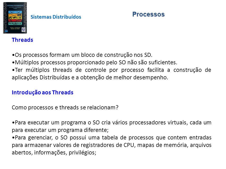 Processos Threads Os processos formam um bloco de construção nos SD. Múltiplos processos proporcionado pelo SO não são suficientes. Ter múltiplos thre