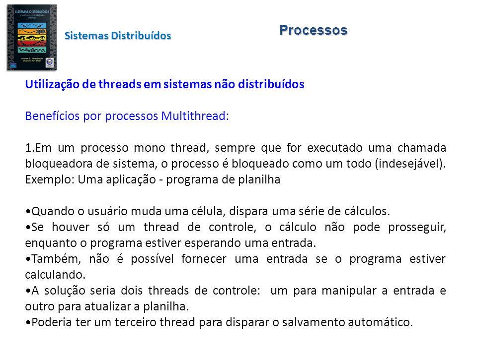 Processos Utilização de threads em sistemas não distribuídos Benefícios por processos Multithread: 1.Em um processo mono thread, sempre que for execut