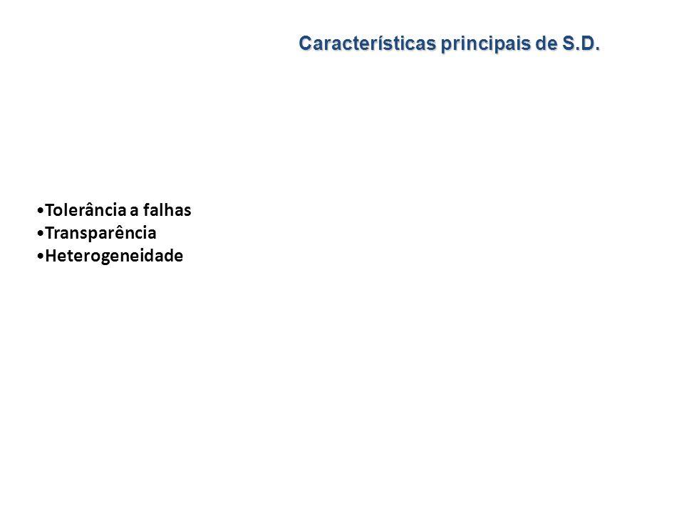 Tolerância a falhas Transparência Heterogeneidade Características principais de S.D.