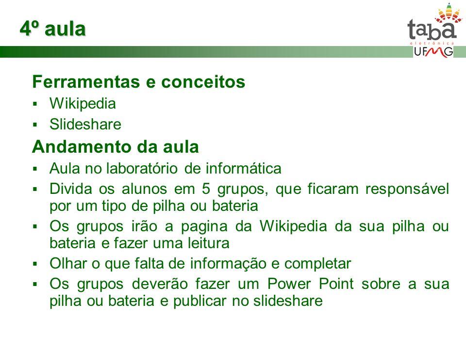 4º aula Ferramentas e conceitos Wikipedia Slideshare Andamento da aula Aula no laboratório de informática Divida os alunos em 5 grupos, que ficaram re