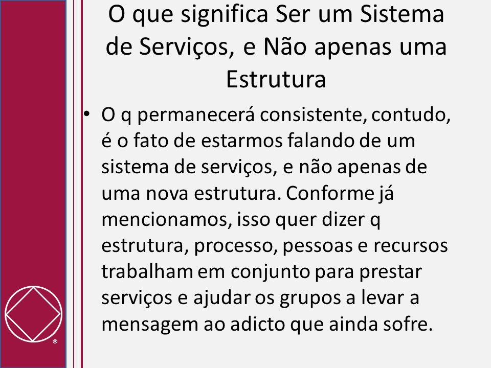 O que significa Ser um Sistema de Serviços, e Não apenas uma Estrutura O q permanecerá consistente, contudo, é o fato de estarmos falando de um sistem