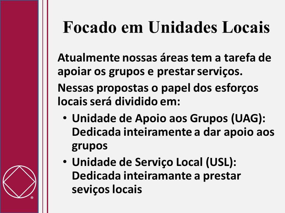 Focado em Unidades Locais Atualmente nossas áreas tem a tarefa de apoiar os grupos e prestar serviços. Nessas propostas o papel dos esforços locais se