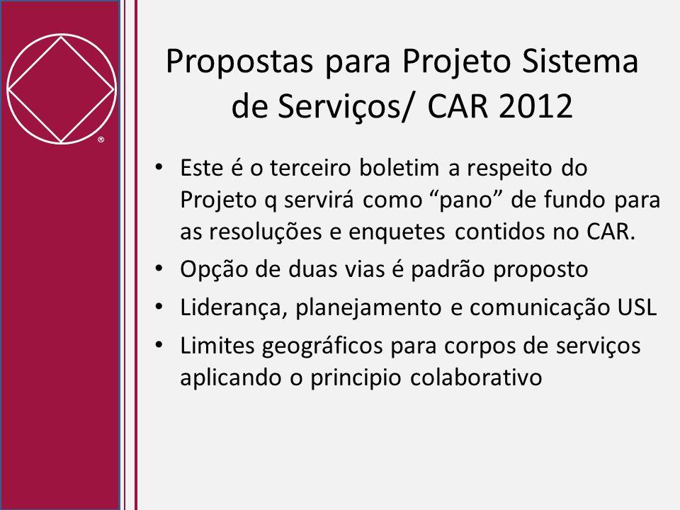 Propostas para Projeto Sistema de Serviços/ CAR 2012 Este é o terceiro boletim a respeito do Projeto q servirá como pano de fundo para as resoluções e
