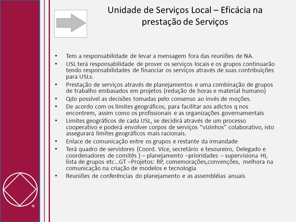 Unidade de Serviços Local – Eficácia na prestação de Serviços Tem a responsabilidade de levar a mensagem fora das reuniões de NA. USL terá responsabil