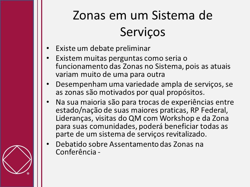 Zonas em um Sistema de Serviços Existe um debate preliminar Existem muitas perguntas como seria o funcionamento das Zonas no Sistema, pois as atuais v