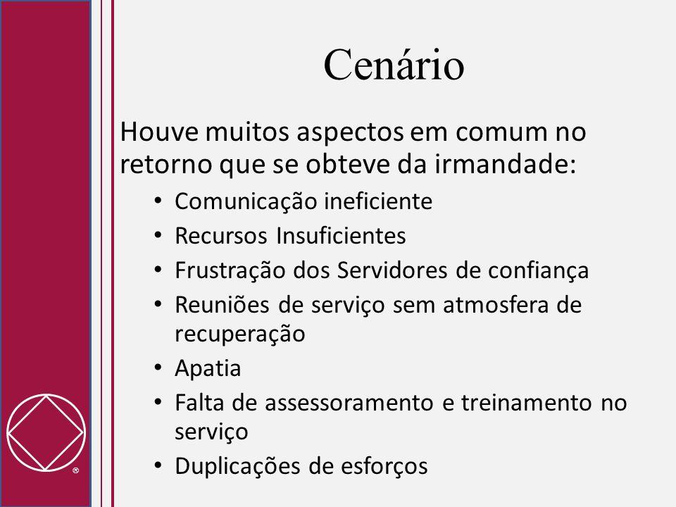 Cenário Houve muitos aspectos em comum no retorno que se obteve da irmandade: Comunicação ineficiente Recursos Insuficientes Frustração dos Servidores