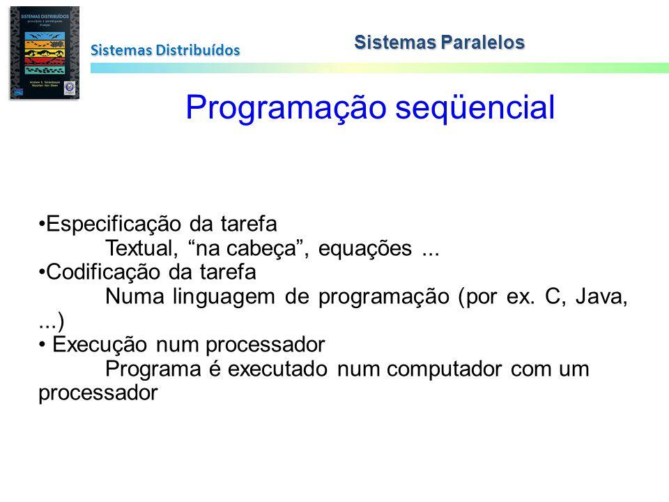 Sistemas Distribuídos Programação seqüencial Especificação da tarefa Textual, na cabeça, equações... Codificação da tarefa Numa linguagem de programaç