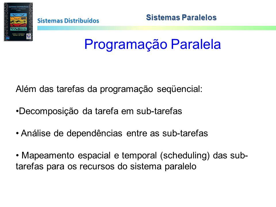 Sistemas Distribuídos Programação Paralela Além das tarefas da programação seqüencial: Decomposição da tarefa em sub-tarefas Análise de dependências e