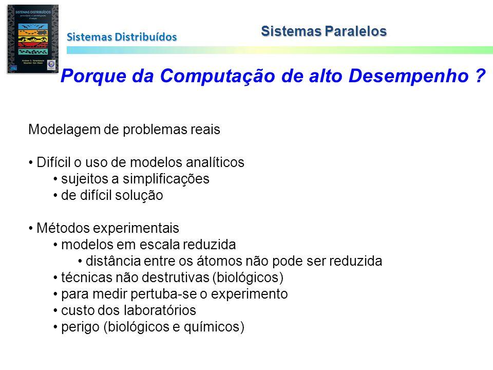 Sistemas Distribuídos Sistemas Paralelos Porque da Computação de alto Desempenho ? Modelagem de problemas reais Difícil o uso de modelos analíticos su