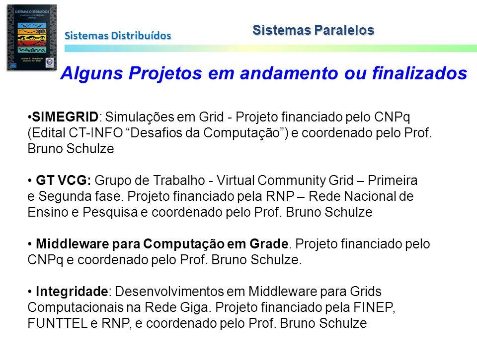 Sistemas Distribuídos Sistemas Paralelos Alguns Projetos em andamento ou finalizados SIMEGRID: Simulações em Grid - Projeto financiado pelo CNPq (Edit