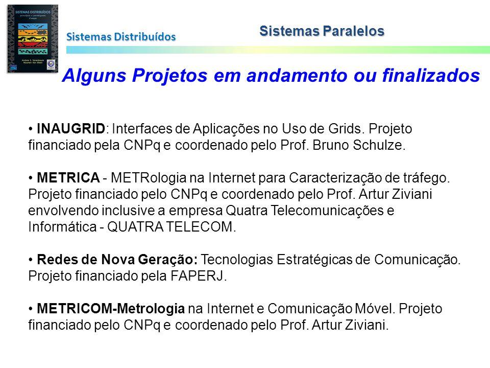 Sistemas Distribuídos Sistemas Paralelos Alguns Projetos em andamento ou finalizados INAUGRID: Interfaces de Aplicações no Uso de Grids. Projeto finan