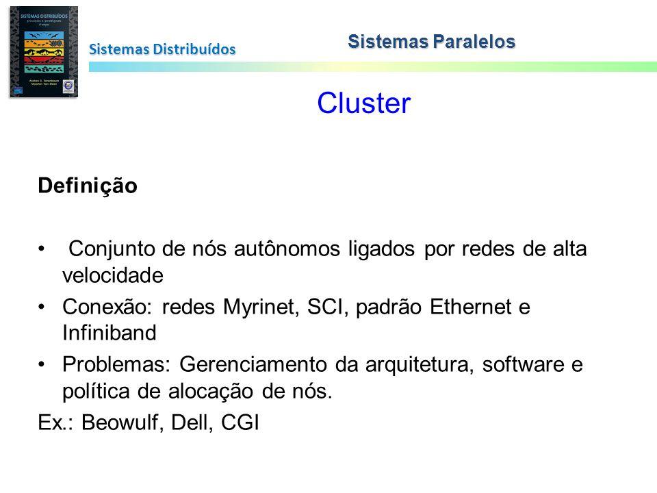 Cluster Sistemas Distribuídos Sistemas Paralelos Definição Conjunto de nós autônomos ligados por redes de alta velocidade Conexão: redes Myrinet, SCI,