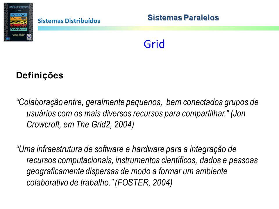 Grid Sistemas Distribuídos Sistemas Paralelos Definições Colaboração entre, geralmente pequenos, bem conectados grupos de usuários com os mais diverso