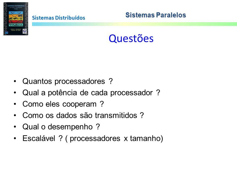 Questões Sistemas Distribuídos Sistemas Paralelos Quantos processadores ? Qual a potência de cada processador ? Como eles cooperam ? Como os dados são