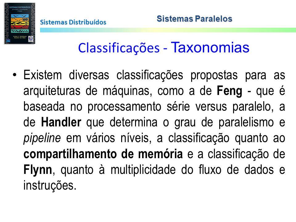 Classificações - Taxonomias Sistemas Distribuídos Sistemas Paralelos Existem diversas classificações propostas para as arquiteturas de máquinas, como