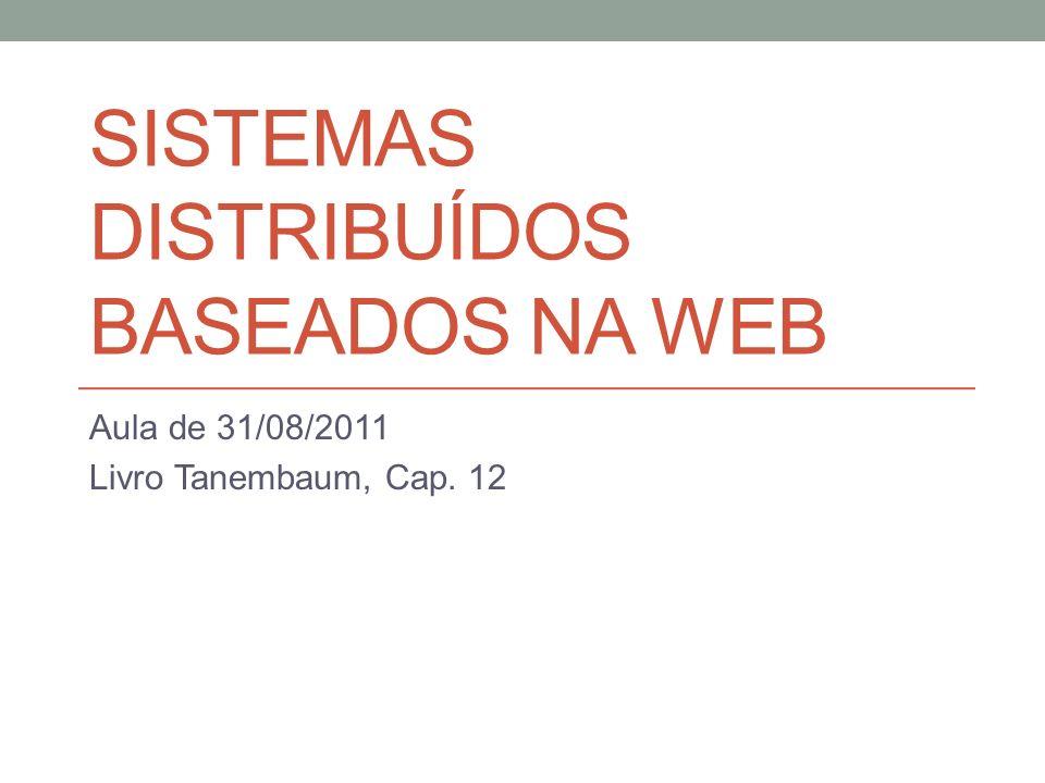 SISTEMAS DISTRIBUÍDOS BASEADOS NA WEB Aula de 31/08/2011 Livro Tanembaum, Cap. 12