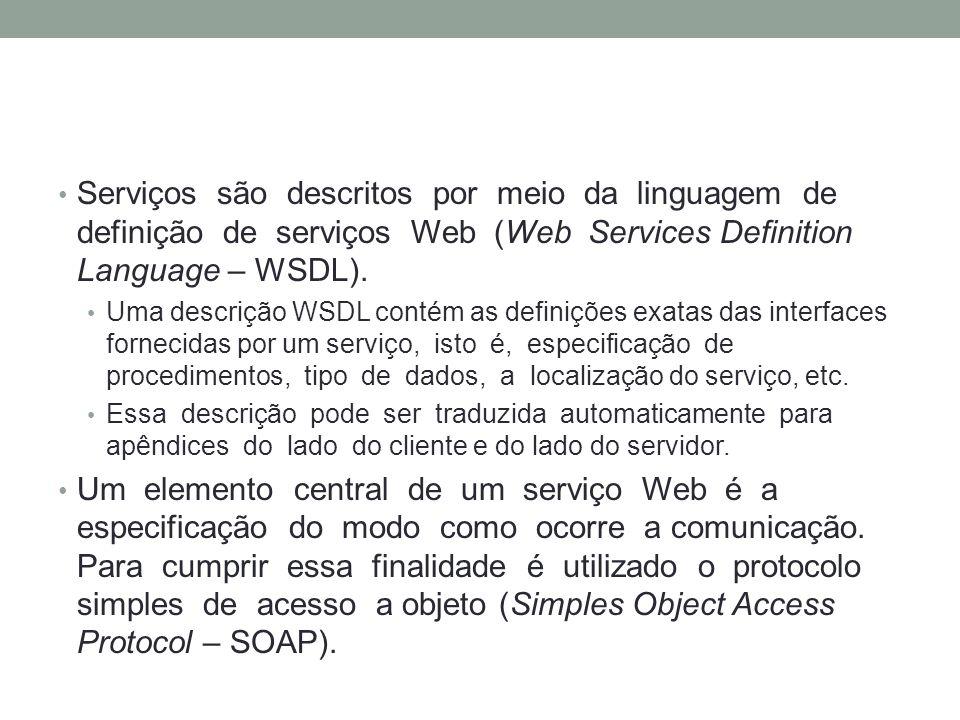Serviços são descritos por meio da linguagem de definição de serviços Web (Web Services Definition Language – WSDL). Uma descrição WSDL contém as defi