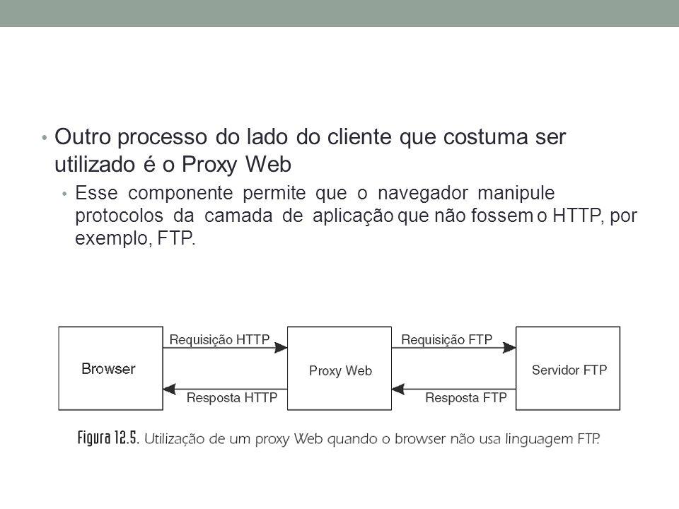 Outro processo do lado do cliente que costuma ser utilizado é o Proxy Web Esse componente permite que o navegador manipule protocolos da camada de apl