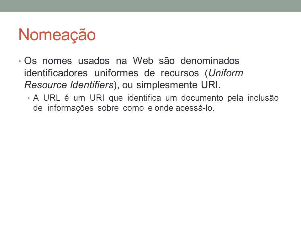 Nomeação Os nomes usados na Web são denominados identificadores uniformes de recursos (Uniform Resource Identifiers), ou simplesmente URI. A URL é um