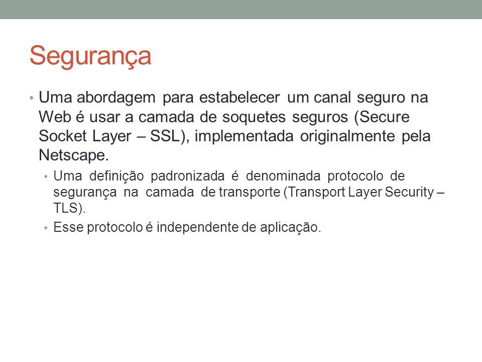 Segurança Uma abordagem para estabelecer um canal seguro na Web é usar a camada de soquetes seguros (Secure Socket Layer – SSL), implementada original