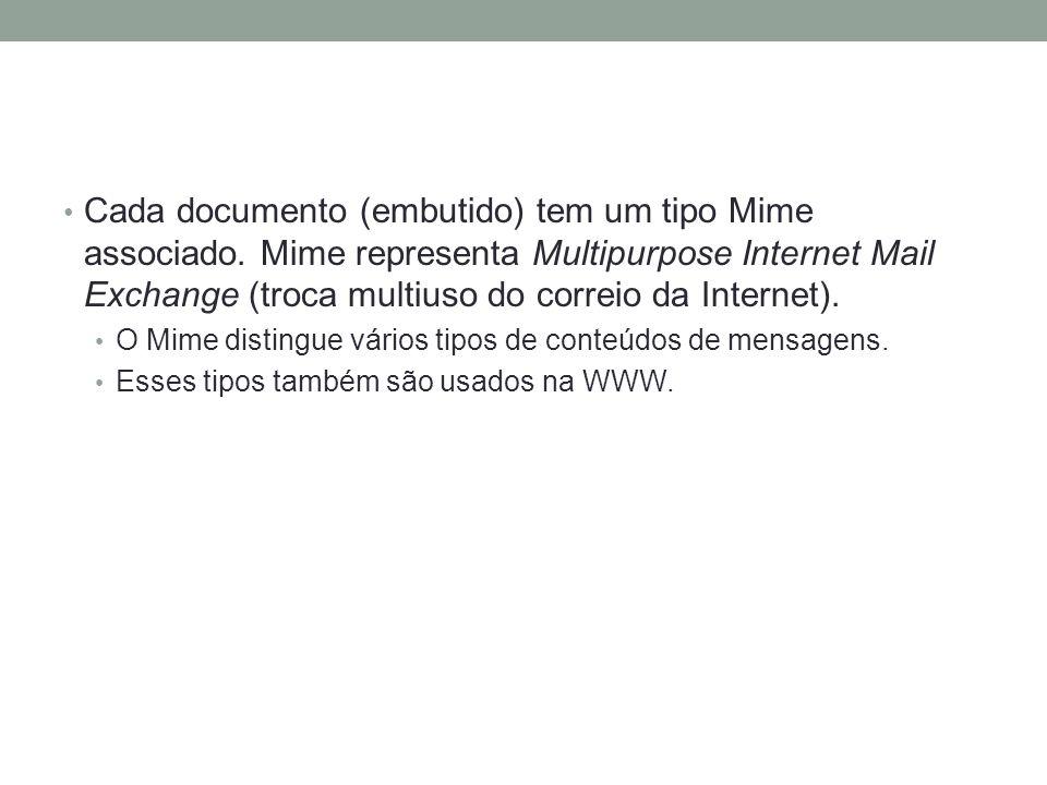 Cada documento (embutido) tem um tipo Mime associado. Mime representa Multipurpose Internet Mail Exchange (troca multiuso do correio da Internet). O M