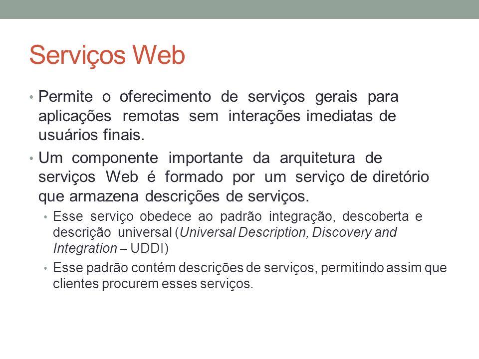 Serviços Web Permite o oferecimento de serviços gerais para aplicações remotas sem interações imediatas de usuários finais. Um componente importante d