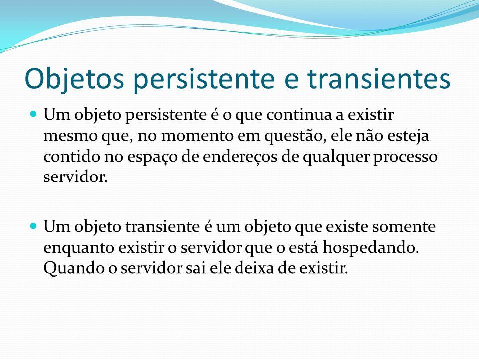 Objetos persistente e transientes Um objeto persistente é o que continua a existir mesmo que, no momento em questão, ele não esteja contido no espaço