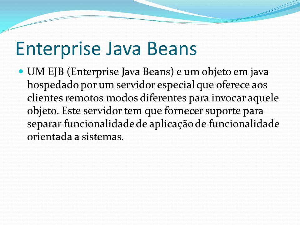 Enterprise Java Beans UM EJB (Enterprise Java Beans) e um objeto em java hospedado por um servidor especial que oferece aos clientes remotos modos dif