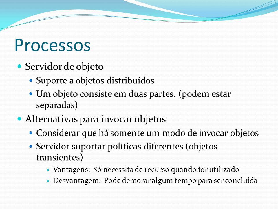 Processos Servidor de objeto Suporte a objetos distribuídos Um objeto consiste em duas partes. (podem estar separadas) Alternativas para invocar objet