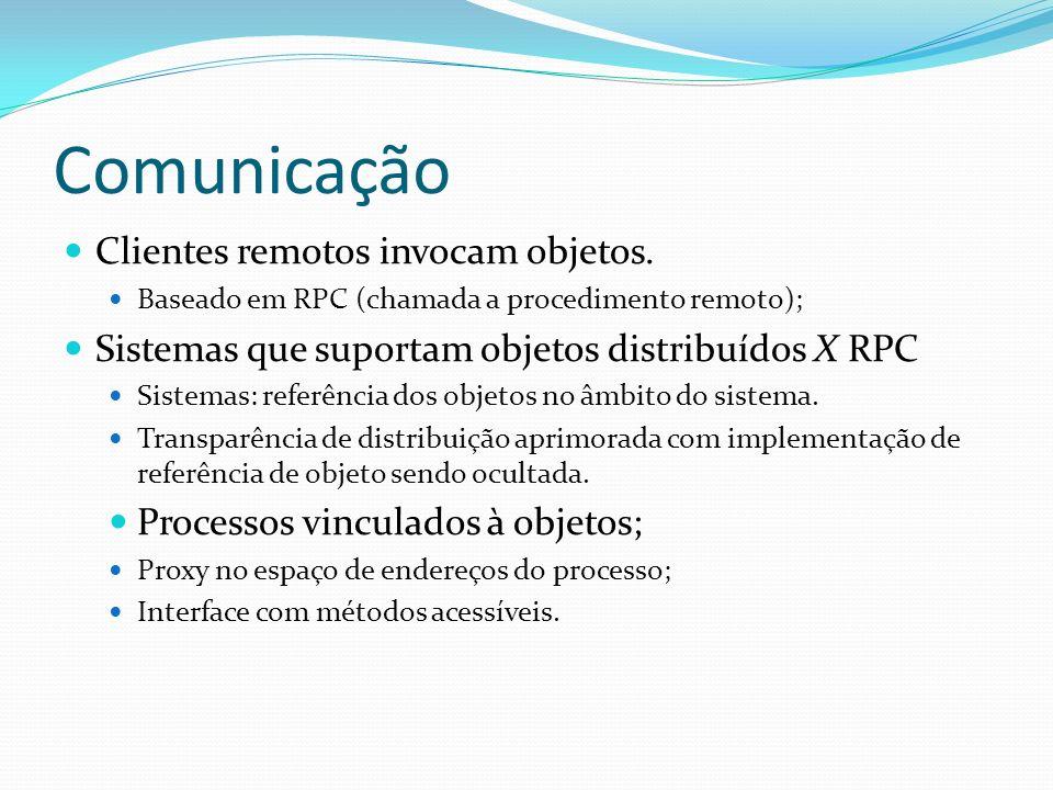Comunicação Clientes remotos invocam objetos. Baseado em RPC (chamada a procedimento remoto); Sistemas que suportam objetos distribuídos X RPC Sistema